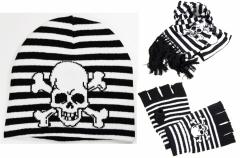Piraten Totenkopf Beanie - Handschuhe und Schal im Set