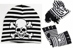 Pirate Skull Beanie - Glove and Scarf Set