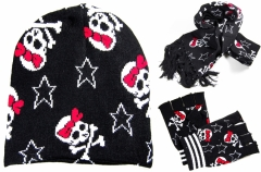 Rockabilly Style Winter Beanie - Handschuhe - Schal Set