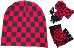 Winter Set mit Schal - Beanie und Handschuhe - rot schwarz Karomuster