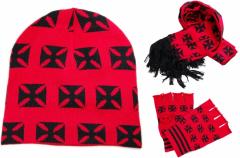 Handschuhe - Schal - Beanie Set - schwarzes Eisernes Kreuz