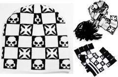 Scarf - Gloves - Beanie Set Eisernes Kreuz and Skull
