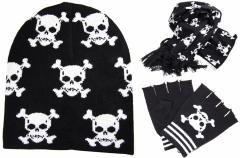 Winter Beanie Handschuhe und Schal Set - Totenköpfe