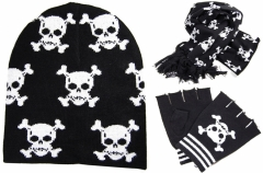 Winter Beanie Gloves and Scarf Set - Skulls