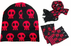 Scarf - Beanie - Gloves Set - black with red Skull