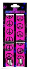 Neon pinker Hosenträger mit Peace-Zeichen