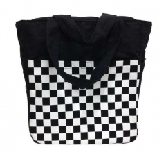 Checkered Shopping Bag in Black
