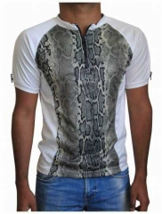Weißes Unisex T-Shirt Schlangenhaut - Beige