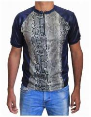 Blaues Unisex T-Shirt Schlangenhaut - Beige