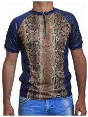 Blaues Unisex T-Shirt Schlangenhaut - Braun