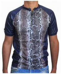 Blaues Unisex T-Shirt Schlangenhaut - Grau