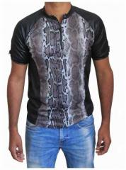 Schwarzes Unisex T-Shirt Schlangenhaut - Grau