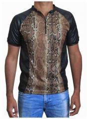 Schwarzes Unisex T-Shirt Schlangenhaut - Braun