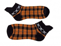 Sneaker Socken - Schwarz & Orange Totenkopf