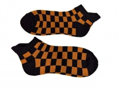 Sneakersocks - Schwarz & Orange Karomuster
