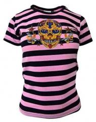 Streifen Top Pink Totenkopf