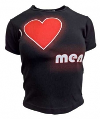 Schwarzes Top I Heart Men