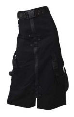 Long Black Gothic Skirt with Loop Belt