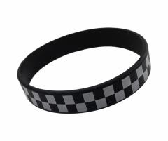 Silicone Armband Check pattern black & white