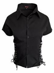 Totenkopf Schwarzes Gothic Shirt mit Schnüren