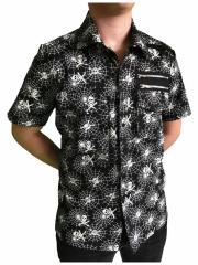 Weiß & Schwarzes Punk Hemd Spinnennetz