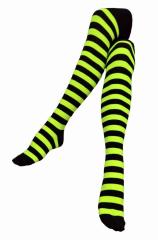 Over Knee Strümpfe Schwarz & Neon Gelb gestreift