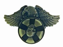 Gürtelschnalle Adler mit drehendem Totenkopf