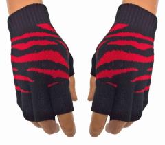Fingerless Gloves Zebra Red