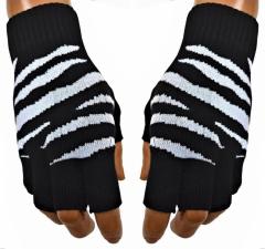 Fingerlose Handschuhe Zebra Weiß