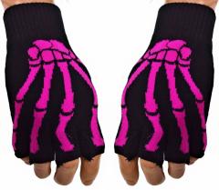 Fingerlose Handschuhe Skeletthand Pink