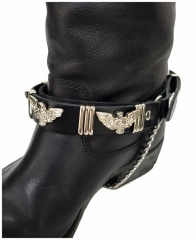 Schwarze Stiefelbänder mit Adlernieten