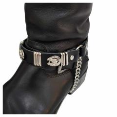 Schwarze Stiefelbänder mit Hufeisennieten