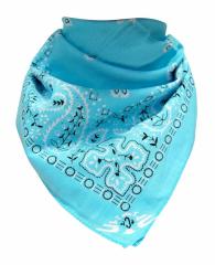 XL Bandana Halstuch Babyblau Paisley