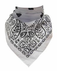 XL Bandana Halstuch Weiß Schwarz Paisley