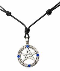 Halskette mit Keltischem Pentagramm und blauen Steinen