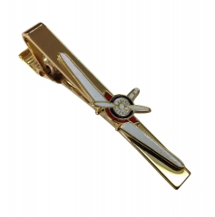 Krawattennadel aus Metall mit Propellerflugzeug