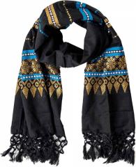 Schal mit Fransen und buntem Muster