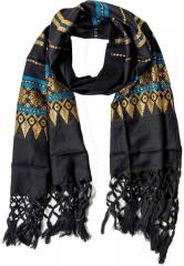 Goldbestickter Schal mit Fransen