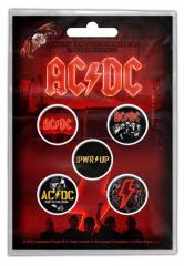 AC/DC PWR UP Button Badge Set