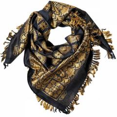 Fransenschal mit orientalischem Muster - schwarz gold