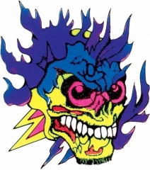 Aufkleber Flaming skull