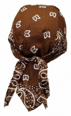 Bandana Kopftuch Braun Weiß Paisley