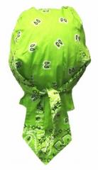 Bandana Kopftuch Hellgrün Weiß Paisley