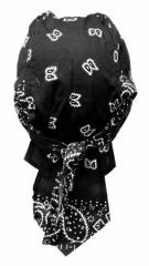 Bandana Kopftuch Schwarz Weiß Paisley