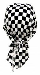 Bandana Kopftuch Schwarz und Weißes Schachmuster