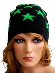 Beanie - Grüne Sterne