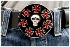 Gürtelschnalle Iron Cross & Skull