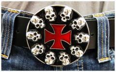 Gürtelschnalle Skull & Cross