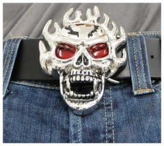 Belt Buckle Burning Skull