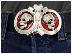 Gürtelschnalle Skull with Cuffs & Gun